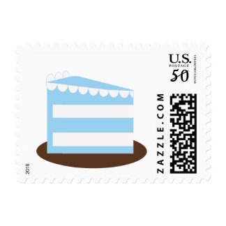 KRW Blue and Brown Polka Dot Birthday Cake Stamp
