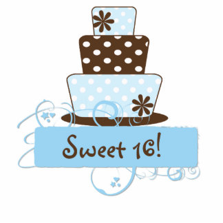 KRW Blue and Brown Sweet 16 Birthday Cake Top Cutout