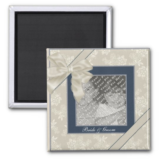 KRW Blue and White Custom Wedding Photo Magnet