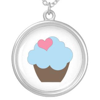 KRW Blue & Brown Polka Dot Cupcake Necklace