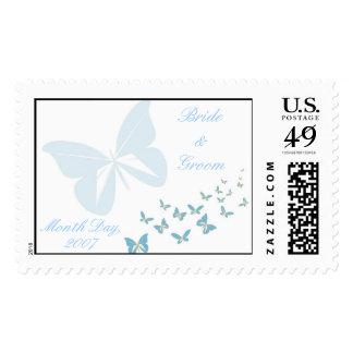 KRW Blue Butterfly Custom Wedding Stamp