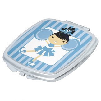 KRW Blue Cheerleader Party Compact Mirror