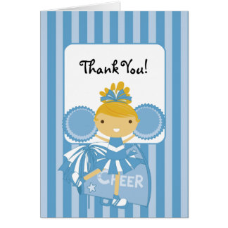KRW Blue Cheerleader Thank You Note Stationery Note Card