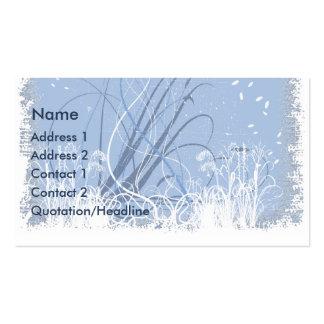 KRW Blue Grunge Floral Swirls Business Card