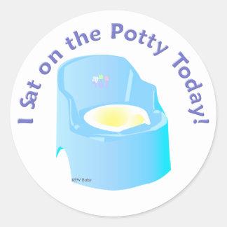 KRW Blue I Sat on the Potty Training Reward Classic Round Sticker