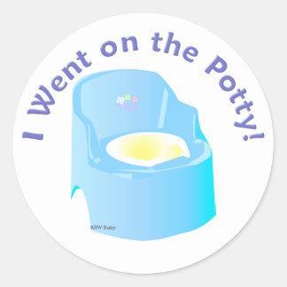KRW Blue I Went on the Potty Training Reward Classic Round Sticker
