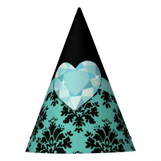 KRW Blue Jewel Heart Party Hat