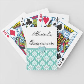 KRW Blue Jewel Heart Quinceanera Playing Cards