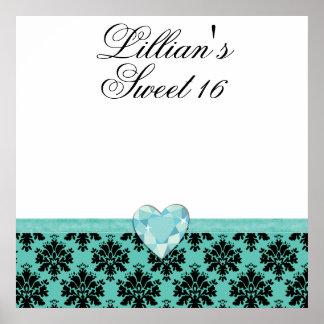 KRW Blue Jewel Heart Sweet 16 Autograph Poster