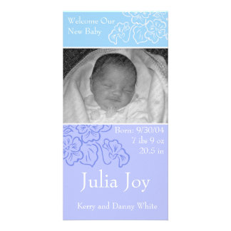 KRW Blue Leaf Custom Photo Birth Announcement