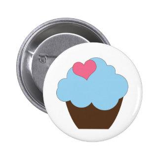 KRW Blue Polka Dot Birthday Cupcake Button Favor