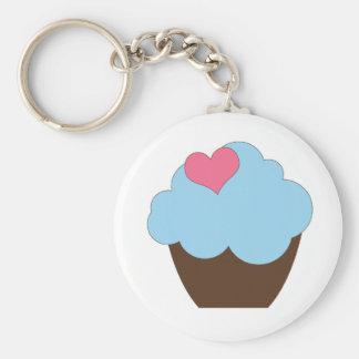 KRW Blue Polka Dot Birthday Cupcake Keychain Favor