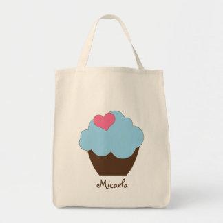 KRW Blue Polka Dot Cupcake Custom Name Tote Bag