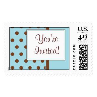 KRW Blue Polka Dot Custom Wedding Stamp