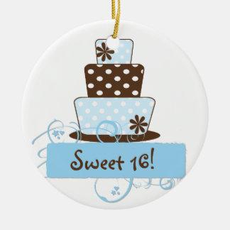 KRW Blue Polka Dot Sweet 16 Cake Keepsake Ornament