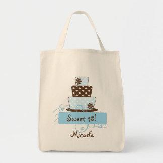 KRW Blue Polka Dot Sweet 16 Custom Name Tote Bag