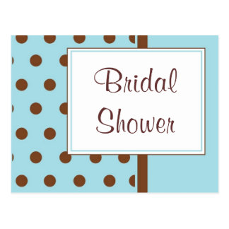 KRW Blue Polka Dots Custom Shower Invitation Postcard