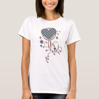 KRW Blue Star Heart Grunge Swirl Patriotic T-Shirt