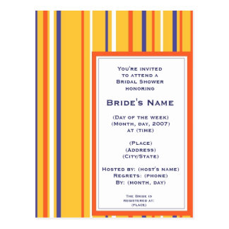 KRW Bold Stripe Custom Shower Invitation Post Card