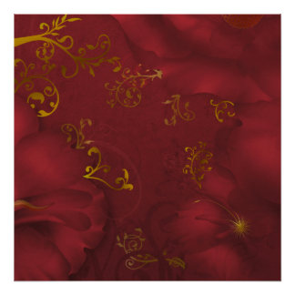 KRW Bordeaux Fantasy Floral Art Poster/Print