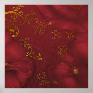 KRW Bordeaux Fantasy Floral Art Poster/Print Poster