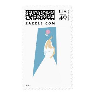 KRW Bride Throws the Bouquet Wedding Stamp