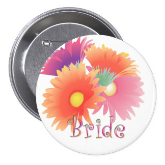 KRW Bright Daisy Bride Wedding Button