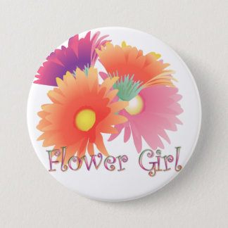 KRW Bright Daisy Flower Girl Wedding Button