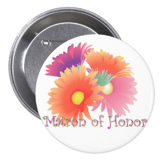 KRW Bright Daisy Matron of Honor Wedding Button