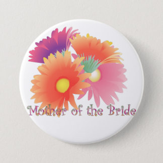 KRW Bright Daisy Mother of the Bride Wedding Butto Pinback Button