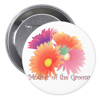 KRW Bright Daisy Mother of the Groom Wedding Butto Pinback Button