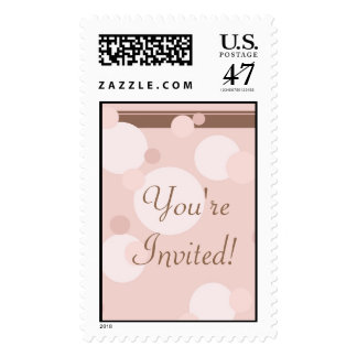 KRW Brown and Pink Dots Wedding Shower Stamp