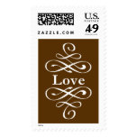 KRW Brown Elegant Swirl Love Wedding Postage Stamps