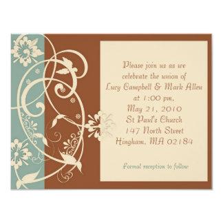 KRW Brown moderno y boda floral azul Invitacion Personalizada