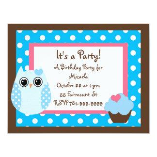 KRW Brown y invitación azul del cumpleaños del