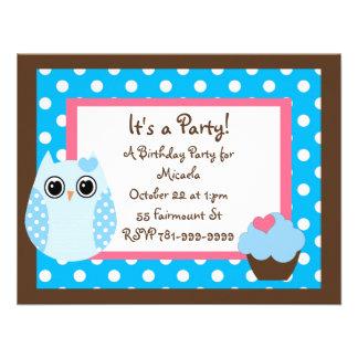 KRW Brown y invitación azul del cumpleaños del búh