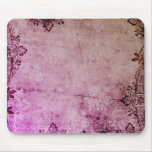KRW Burgundy Watercolor Floral Grunge Mouse Pad