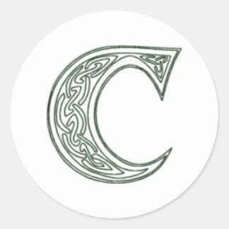 KRW - C - Celtic Monogram Seal Classic Round Sticker