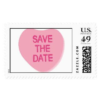 KRW Candy Heart Save the Date Wedding Stamp