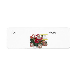 KRW Cartoon Driving Santa Claus  To and From Label Return Address Label