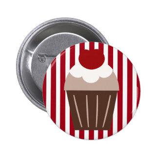 KRW Chocolate Cherry Cupcake Striped Button
