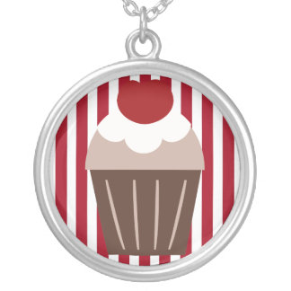 KRW Chocolate Cherry Cupcake Striped Necklace