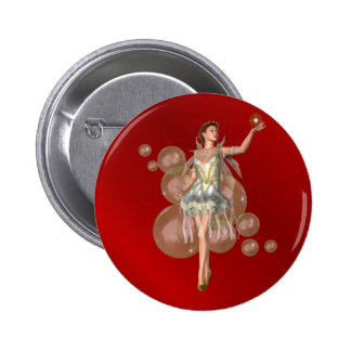 KRW Christmas Angel Holiday Pinback Button