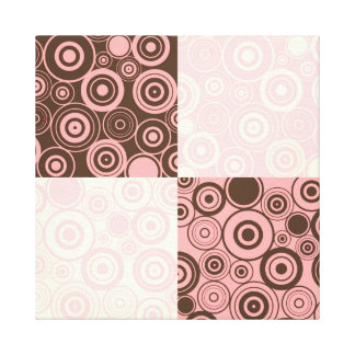 KRW Circles and Circles Pink and Brown Wrapped Art Canvas Print