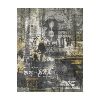 KRW City Poster Graffiti Grunge Wrapped Canvas Art