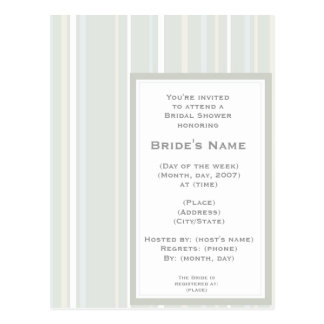 KRW Classic Stripe Custom Shower Invitation Postcard
