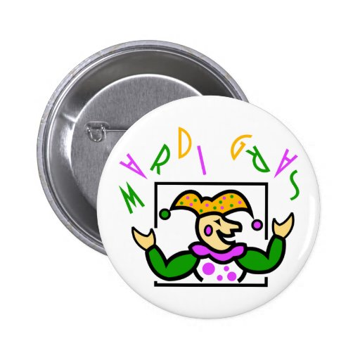 KRW Colorful Mardi Gras Jester Button