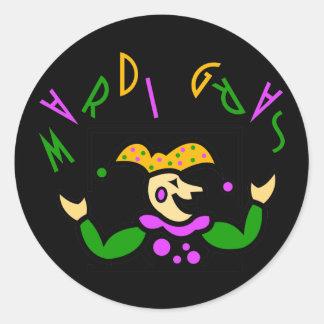 KRW Colorful Mardi Gras Jester Classic Round Sticker