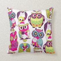 KRW Colorful Owls Decor Pillow