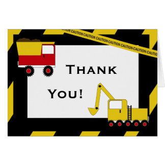 KRW Construction Trucks Thank You Notes Stationery Note Card